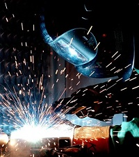 Welder working in clean air